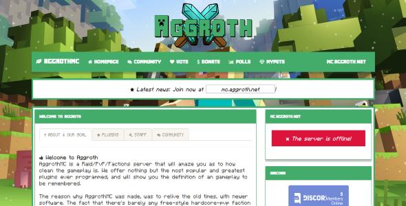 Aggroth A Modern Styled Minecraft Template By Thrallix
