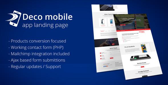Deco Mobile app landing page