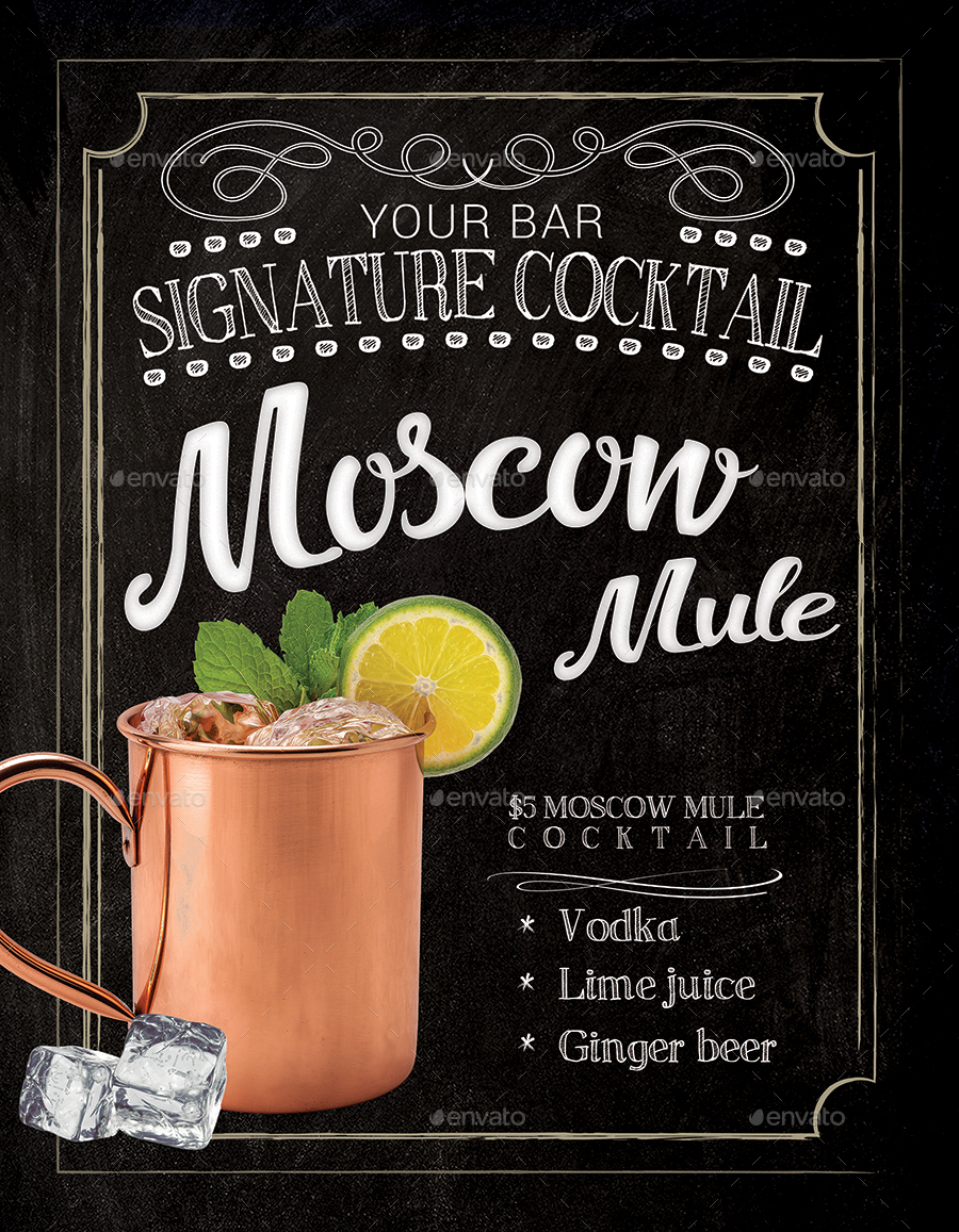 moscow mule cocktail flyer template by tunagaga