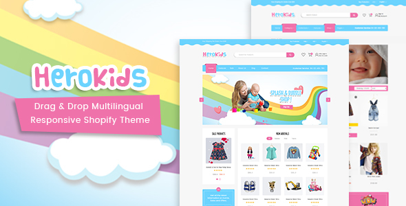 Herokids – Drag & Drop Multilingual Children Kids Shopify Theme
