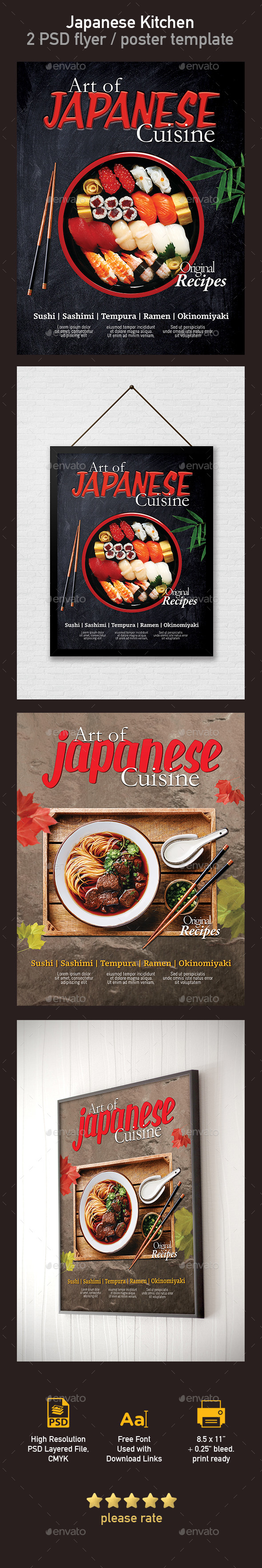 Japanese Restaurant Flyer / Poster Template - 2 PSD - Restaurant Flyers