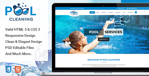 Pool – Cleaning, Construction, Repair and Maintenance Services HTML Template