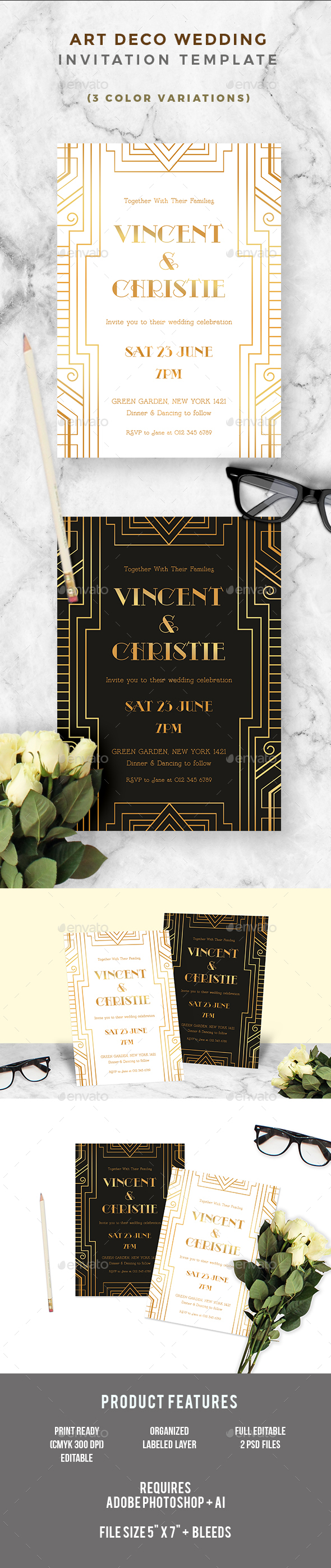 Art Deco Wedding Invitation - Wedding Greeting Cards