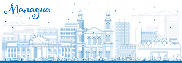 Outline Managua Skyline with Blue Buildings. - Buildings Objects