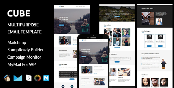 Cube – Multipurpose Responsive Email Template with Stampready Builder Access