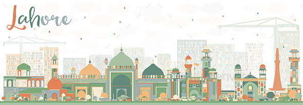 Abstract Lahore Skyline with Color Landmarks. - Buildings Objects