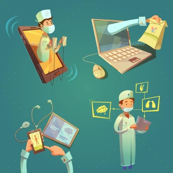 Online Doctor Cartoon Set - Health/Medicine Conceptual