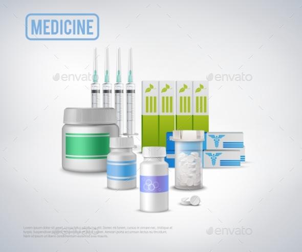 Realistic Medical Supplies Background - Health/Medicine Conceptual