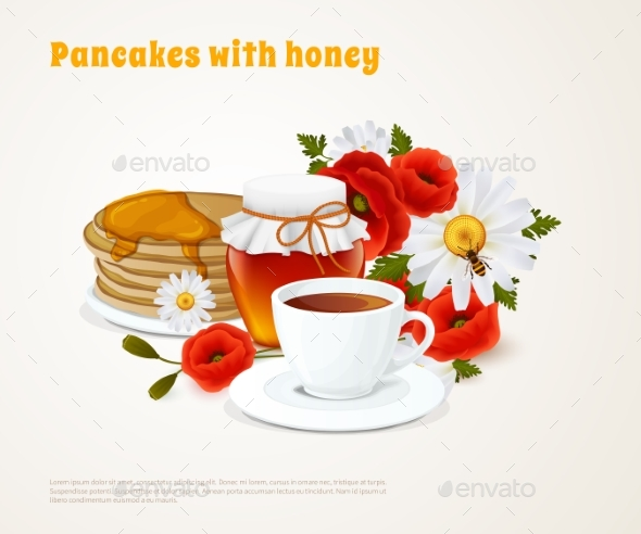 Pancakes With Honey Composition - Food Objects