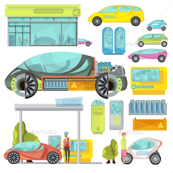 Electro Car Flat Set - Technology Conceptual
