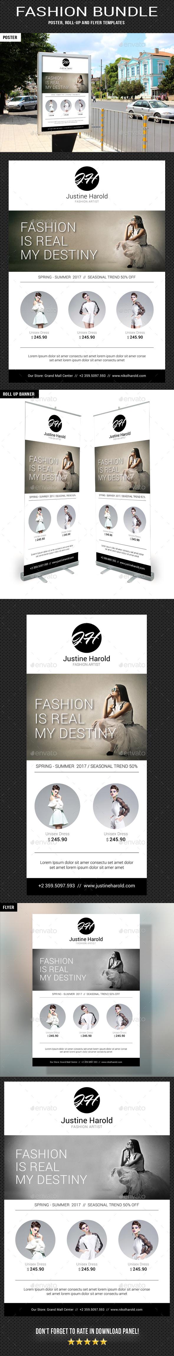 3 Fashion Poster Flyer Banner Bundle - Signage Print Templates