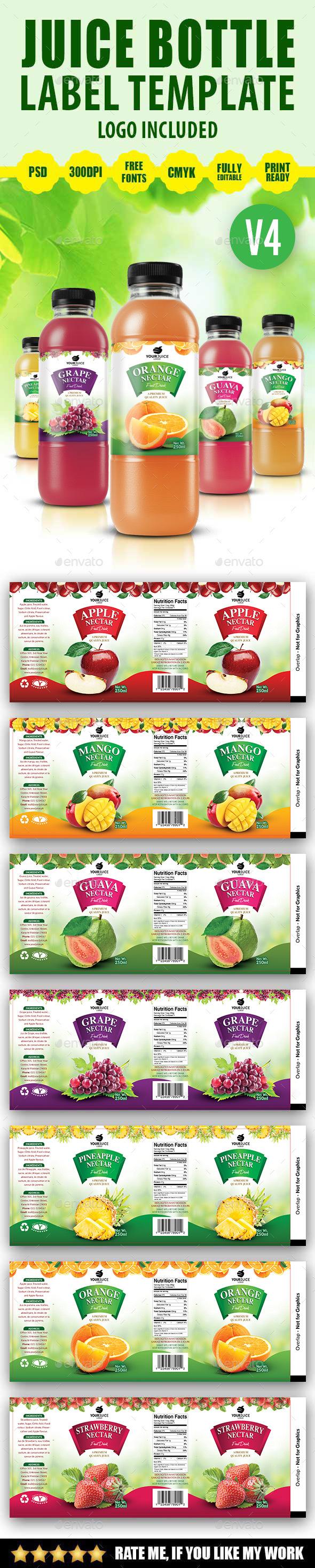 Juice Bottle Label Template V4 - Print Templates