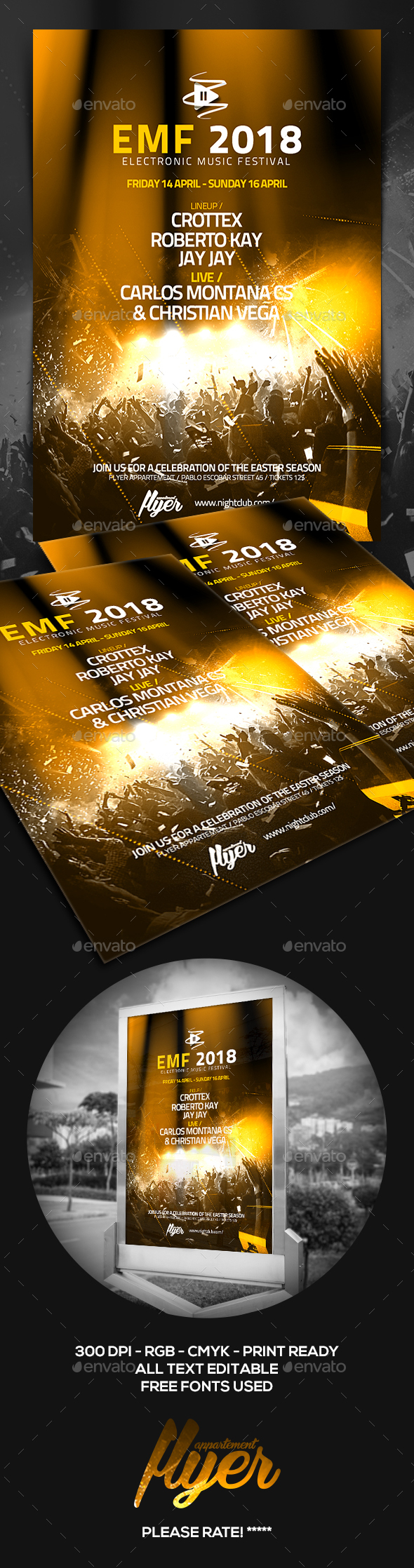 Electronic Music Festival Flyer - Clubs & Parties Events