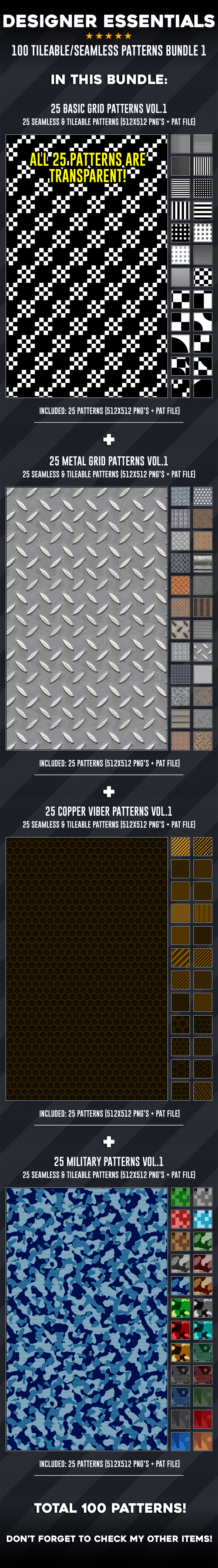 100 Tileable / Seamless Patterns Bundle Vol.1 - Miscellaneous Textures / Fills / Patterns