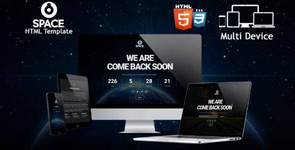 Space - Responsive Coming Soon HTML Template - Specialty Pages Site Templates