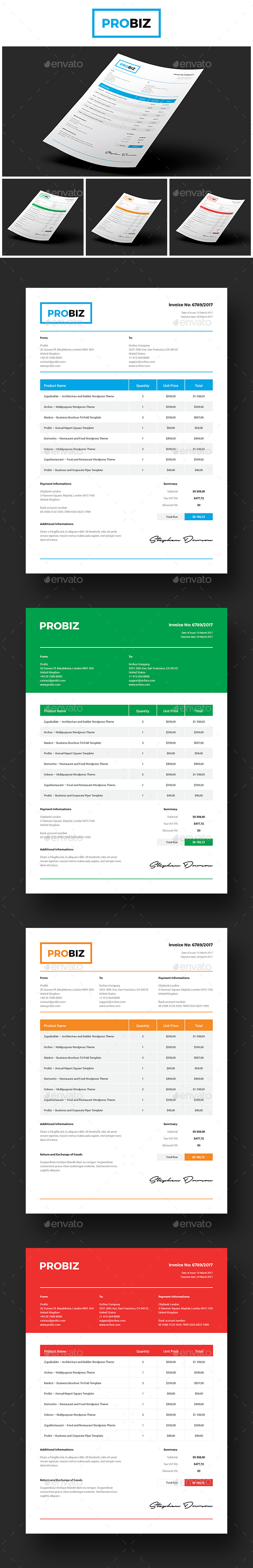 ProBiz – Business and Corporate Invoice - Proposals & Invoices Stationery