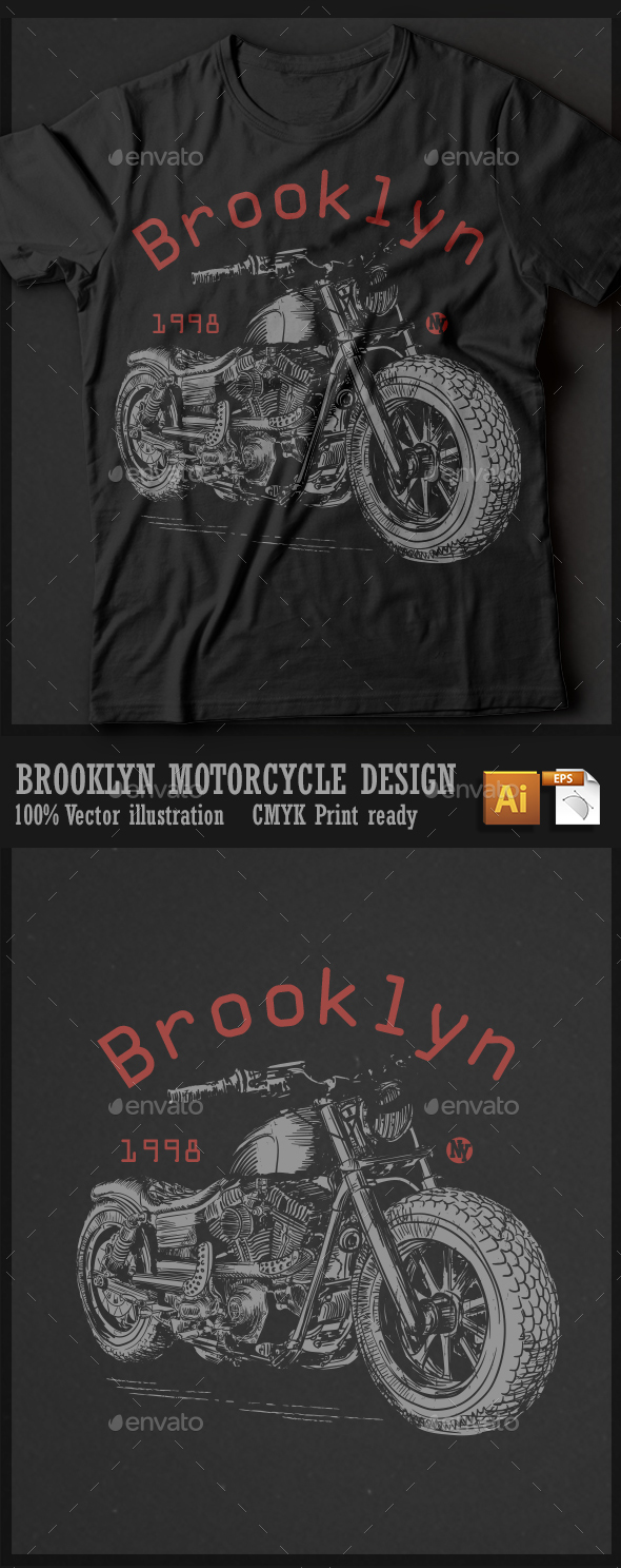 Brooklyn motorcycle design - T-Shirts