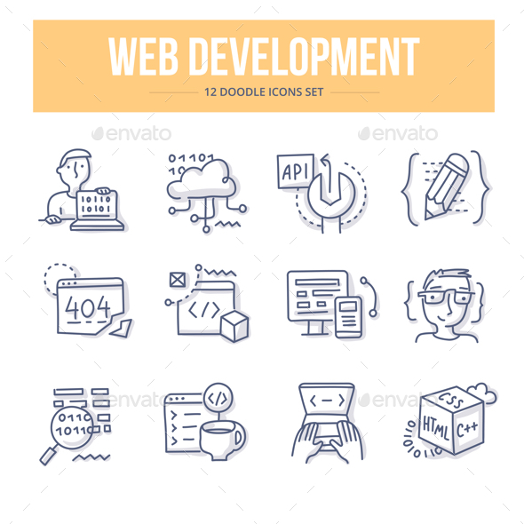 Web Development Doodle Icons - Technology Icons