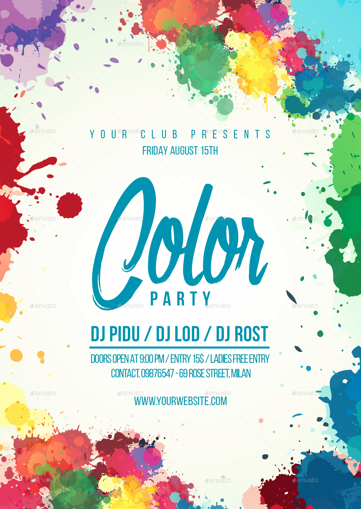 the color party flyer template by lapabrothers