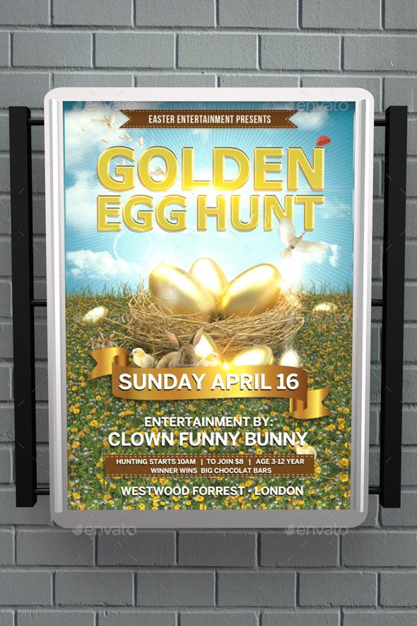 Golden Egg Hunt Flyer - Events Flyers