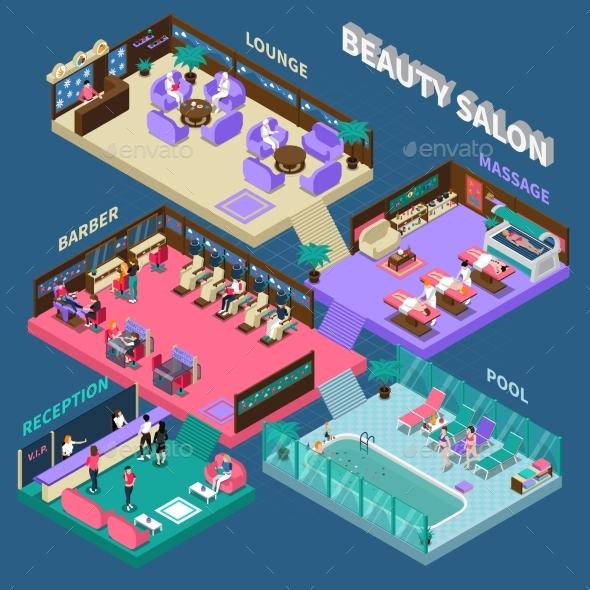 Multistory Beauty Salon Isometric Illustration - Business Conceptual