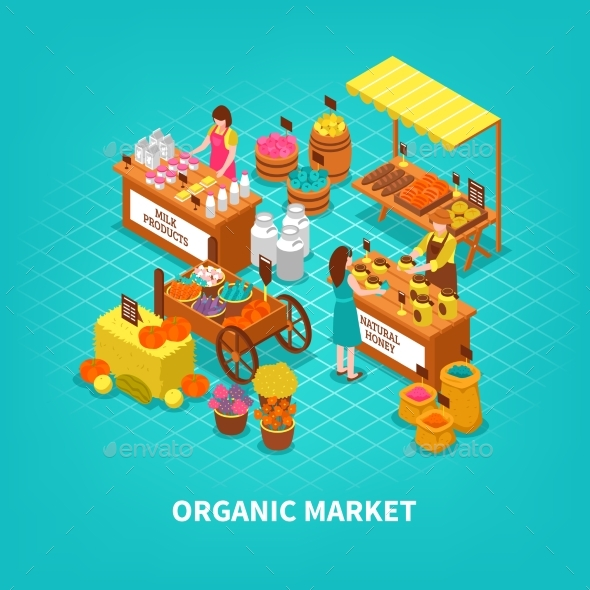 Agriculture Market Isometric Composition - Food Objects