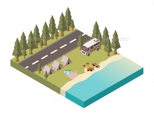 Camp Isometric Design - Sports/Activity Conceptual