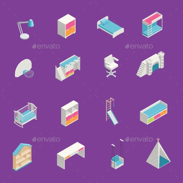 Kids Room Icons Set - Man-made objects Objects