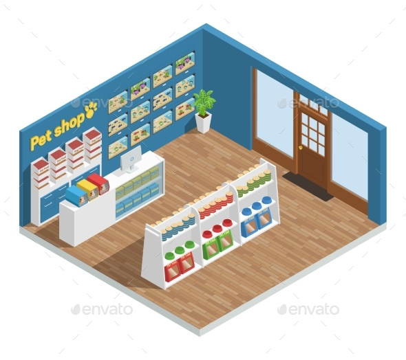 Pet Shop Interior Composition - Retail Commercial / Shopping