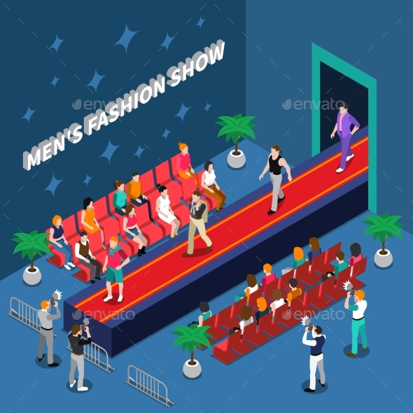 Mens Fashion Show Isometric Illustration - Industries Business