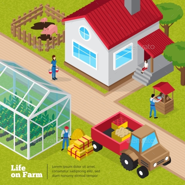 Farm Life Daily Activities Isometric Poster - Miscellaneous Conceptual