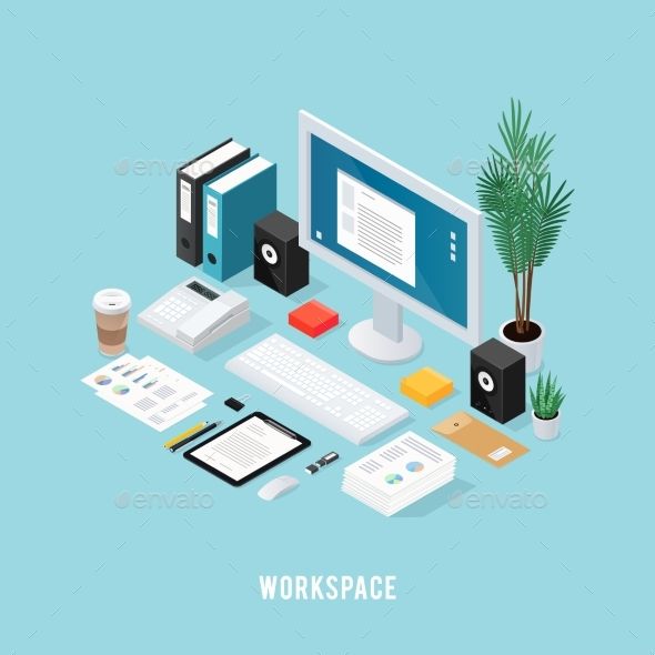 Colored Office Workspace Isometric Composition - Concepts Business
