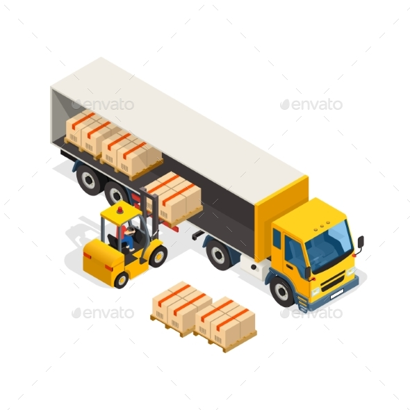 Logistic Isometric Design Composition - Man-made Objects Objects