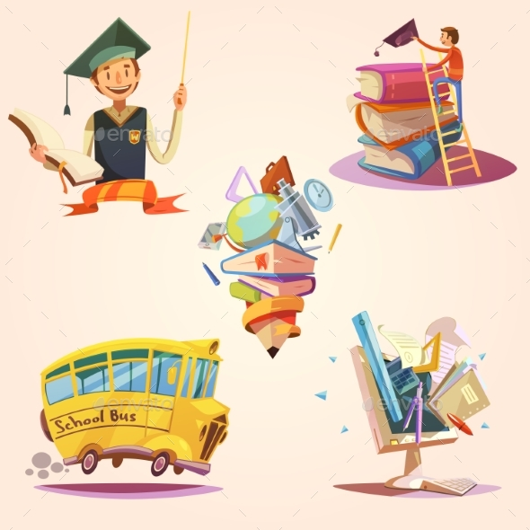 Education Cartoon Retro Set - Miscellaneous Vectors