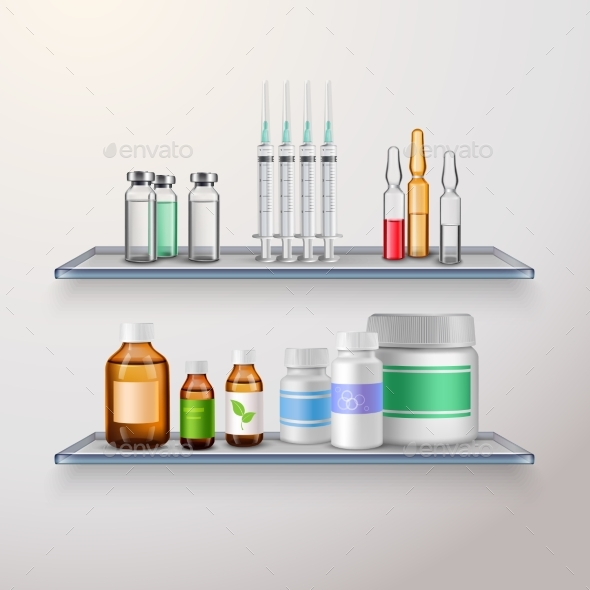 Healthcare Product Shelves Composition - Man-made Objects Objects