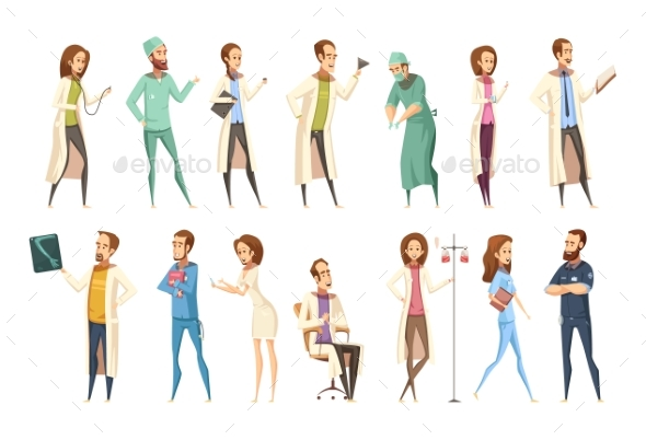 Nurse Characters Set Cartoon Retro Style - Health/Medicine Conceptual