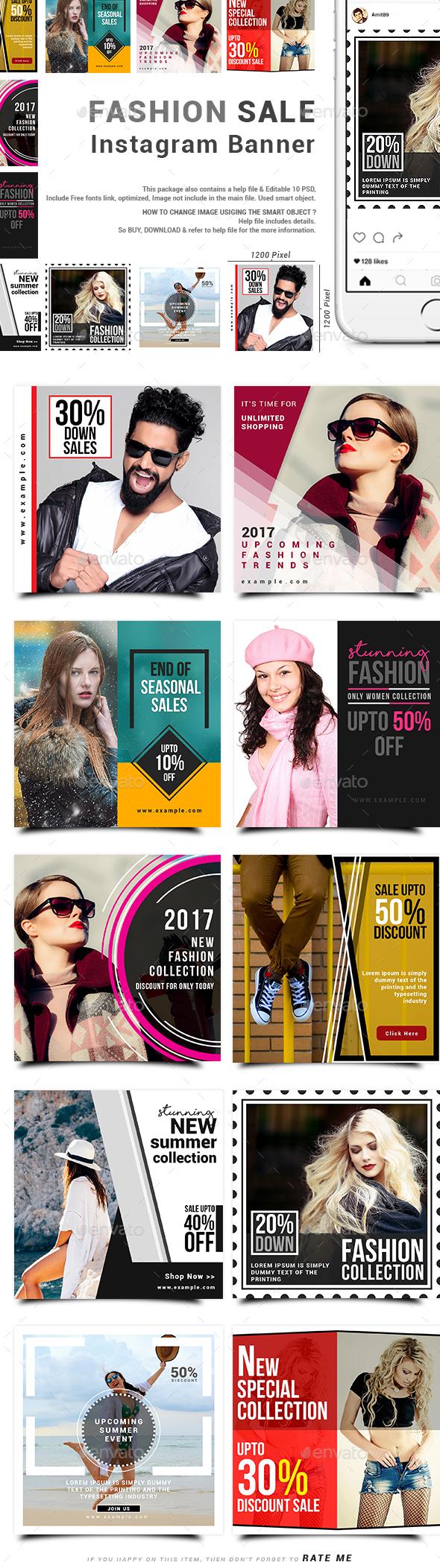 Fashion Sale Instagram Banner - Social Media Web Elements