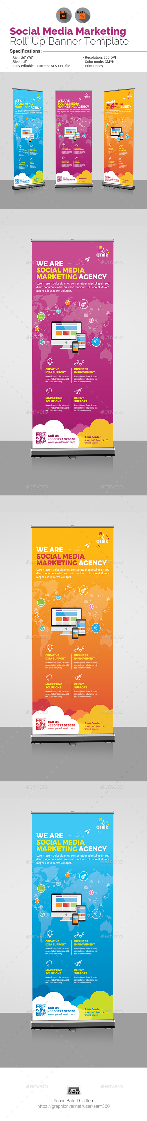 Social Media Marketing Roll Up Banner - Signage Print Templates