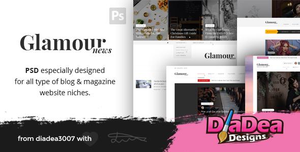 Glamour News – Magazine & News PSD Template