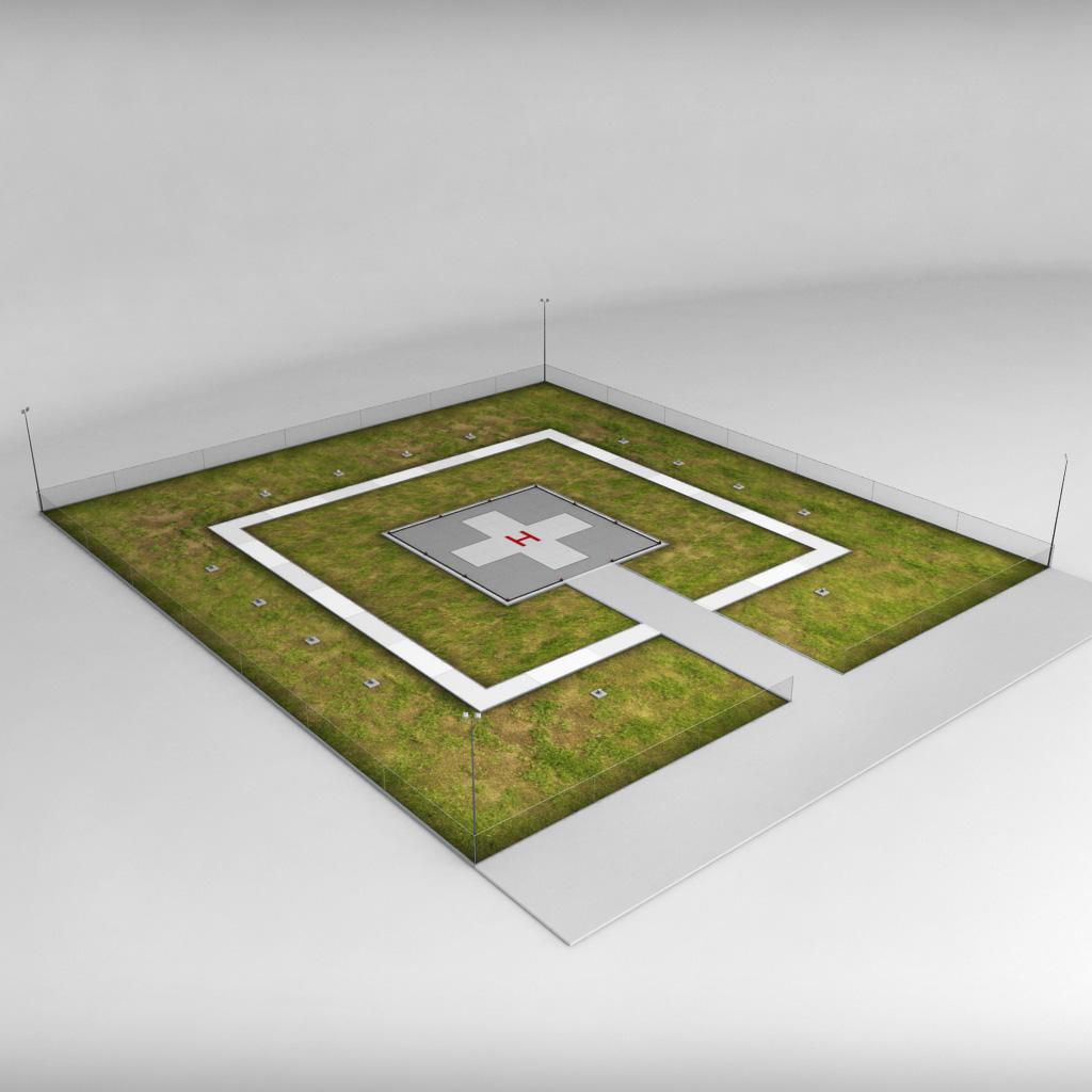Helipad square ground