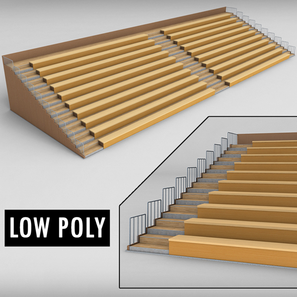 Stadium seating wooden tribune low poly - 3DOcean Item for Sale