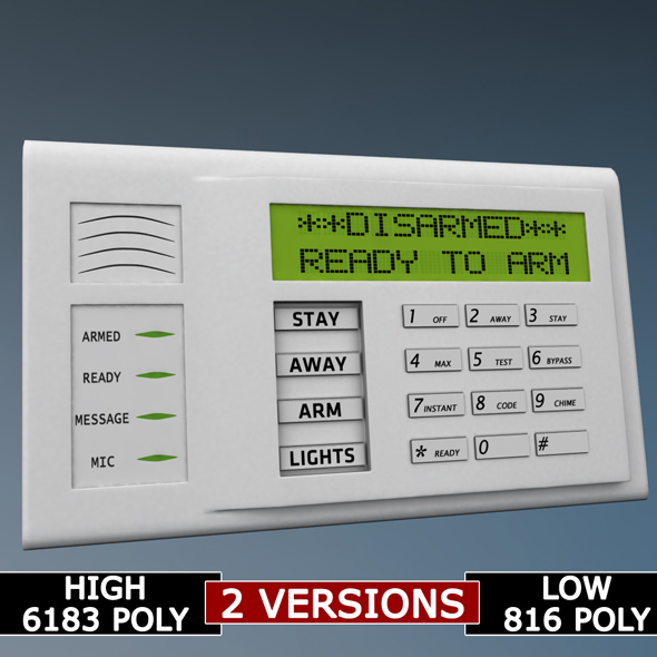 Alarm system keypad low poly - 3DOcean Item for Sale