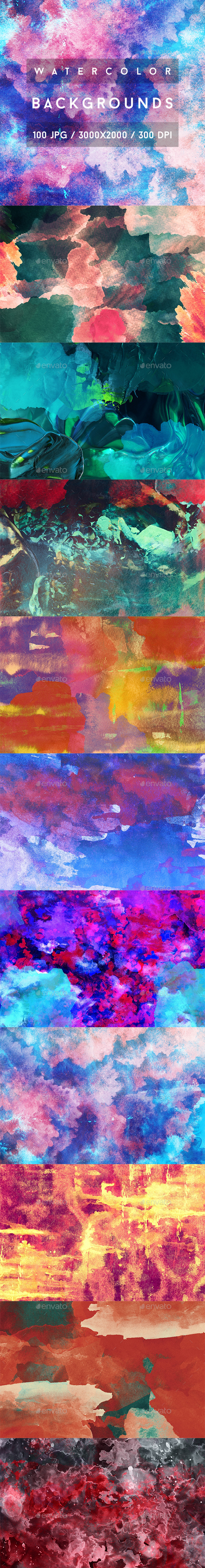100 Watercolor Backgrounds - Abstract Backgrounds