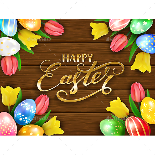 Eggs with Tulips and Happy Easter on Brown Wooden Background - Miscellaneous Seasons/Holidays