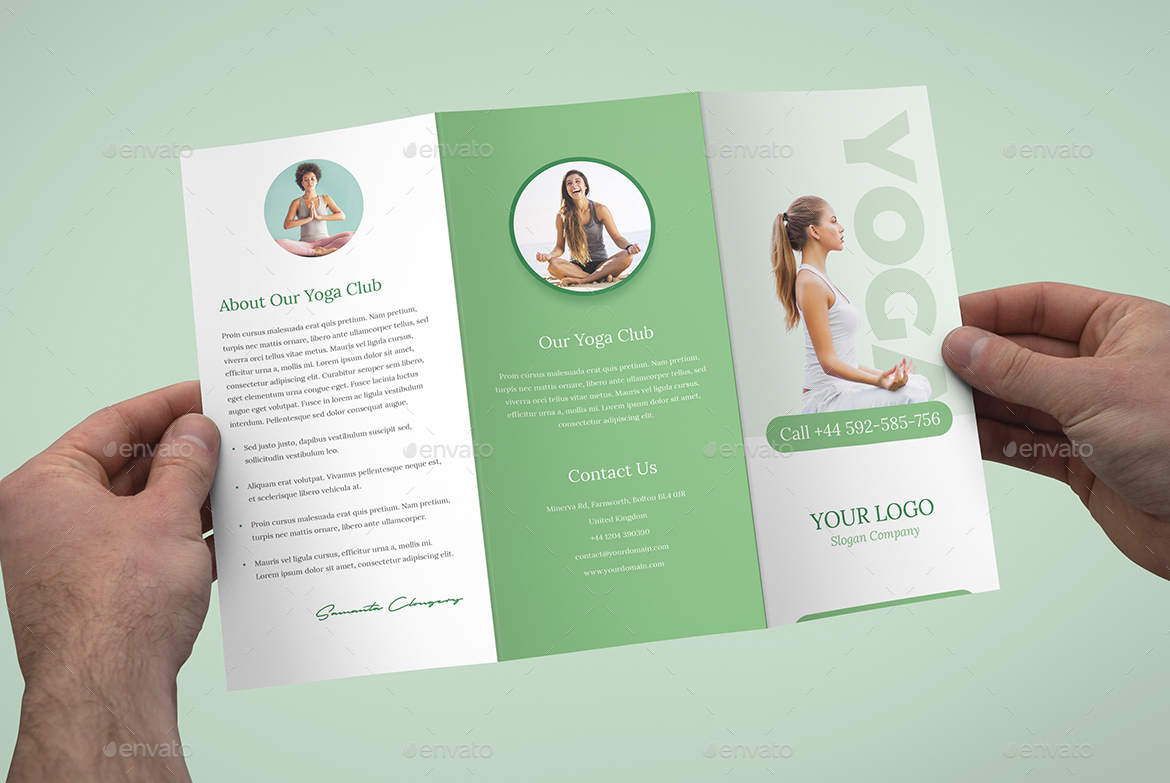 Brochure yoga tri fold by artbart graphicriver for Yoga brochure templates