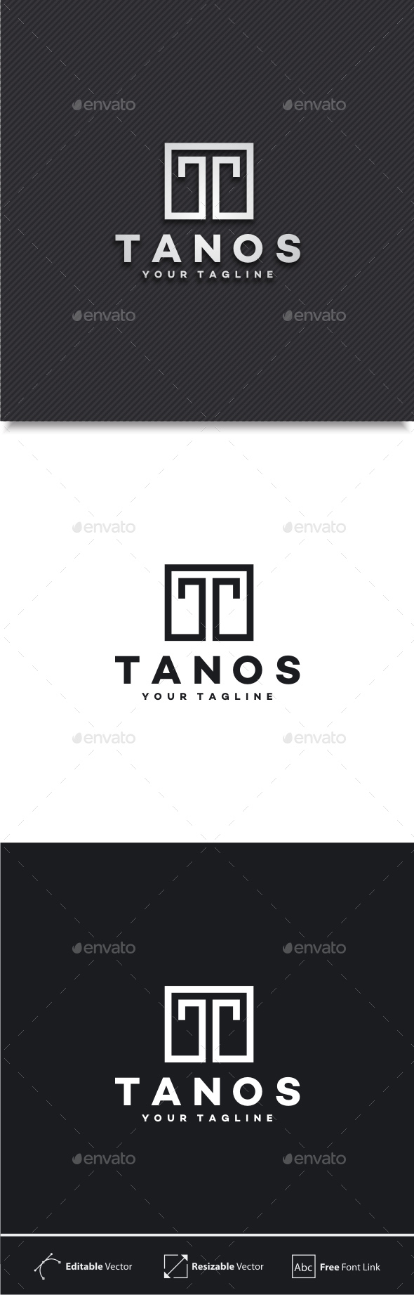 Tanos - Letter T Logo - Letters Logo Templates