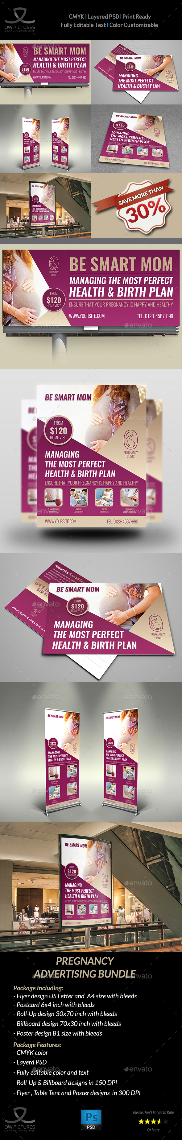 Pregnancy Advertising Bundle - Signage Print Templates