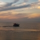 Large Luxury Yacht Silhouette at Sunset on Ocean. Beautiful Life, a Weekend on Your Own Yacht. Quiet