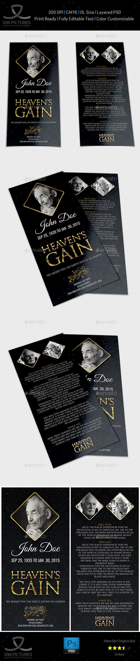 Funeral Program Template Vol.2 - Informational Brochures