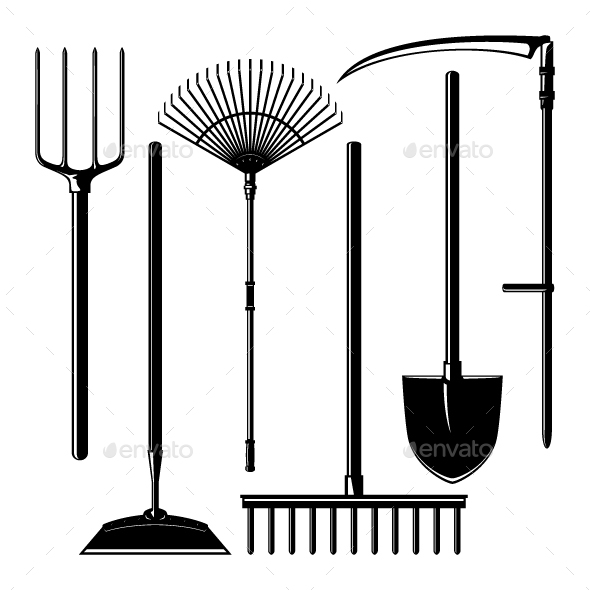 Agricultural Tools Isolated on White Background - Man-made Objects Objects